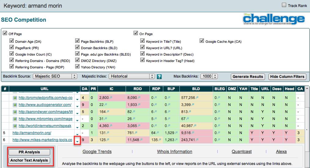 deep link analysis screenshot