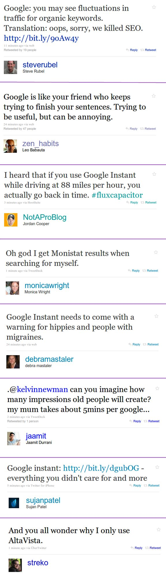 google instant on twitter