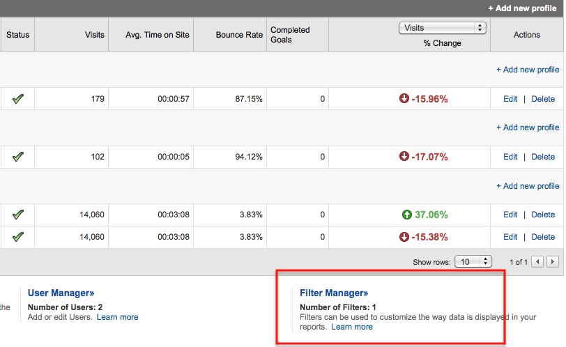 filter manager setting google analytics