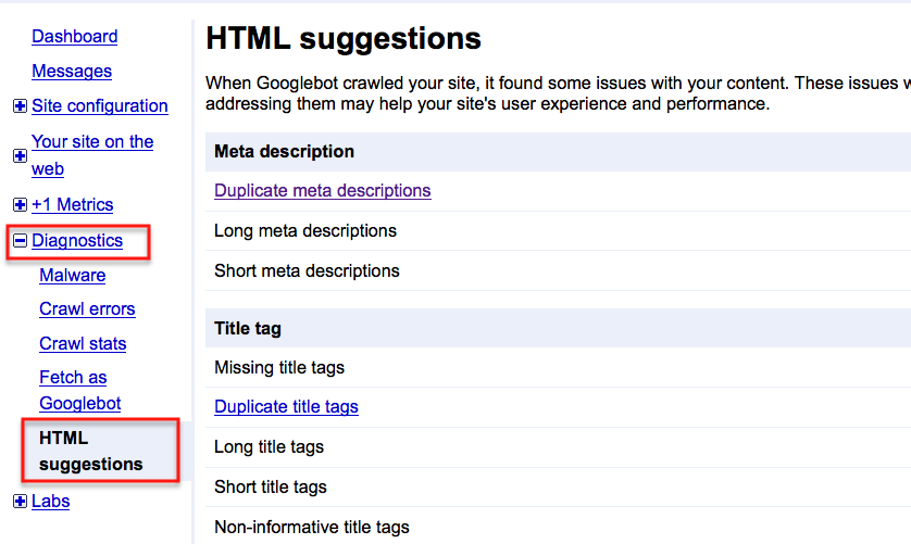 title and description in google webmaster tools