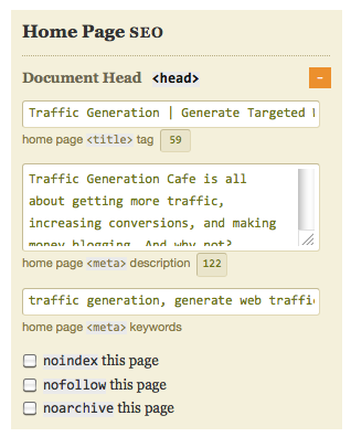 thesis home page seo section