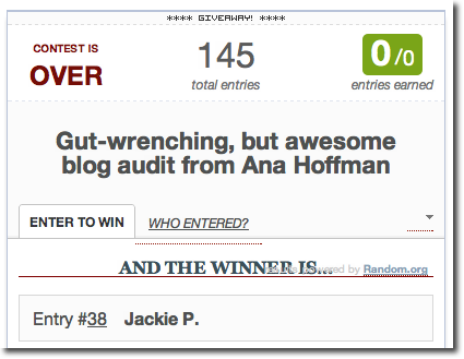jackie paulson blog audit winner