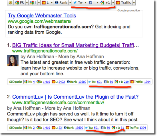 seoquake results for trafficgenerationcafe
