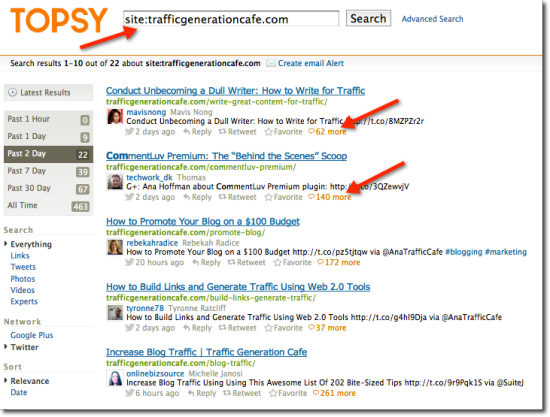 how to search for trafficgenerationcafe on topsy