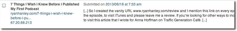 Wordpress trackbacks in comments