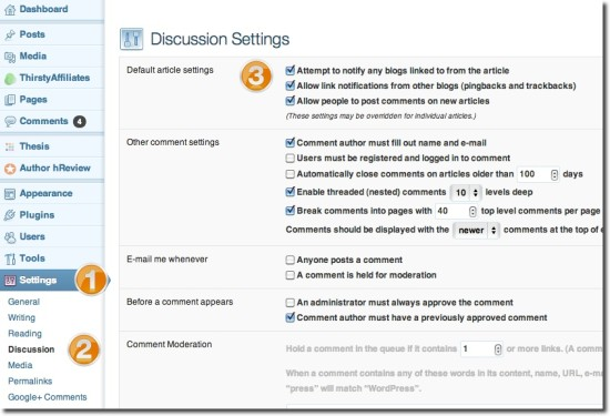 trackbacks wordpress settings