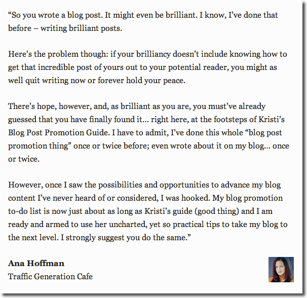 blog post promotion guide testimonial