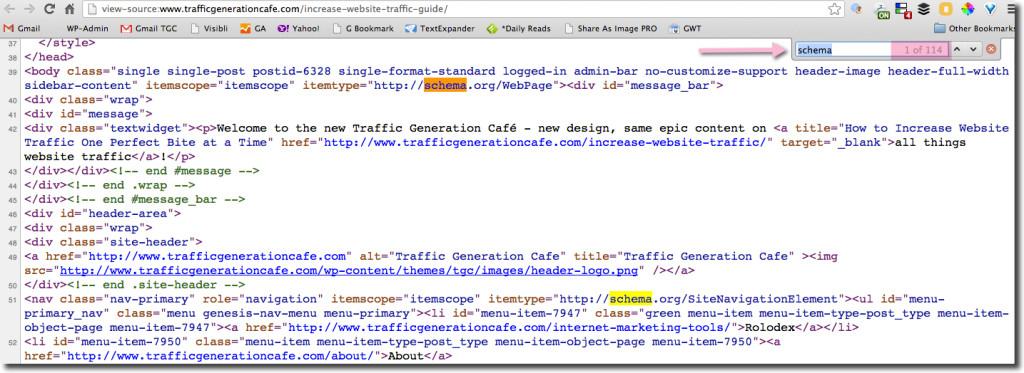 schema genesis webpage markup