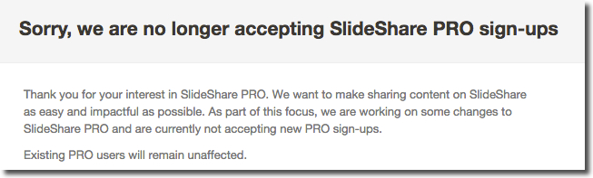 no Slideshare pro sign-ups