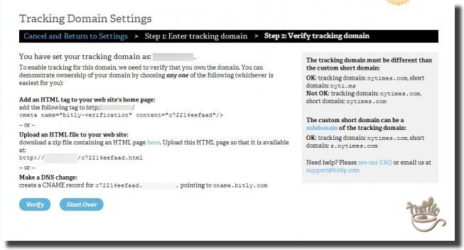 verify tracking domain settings