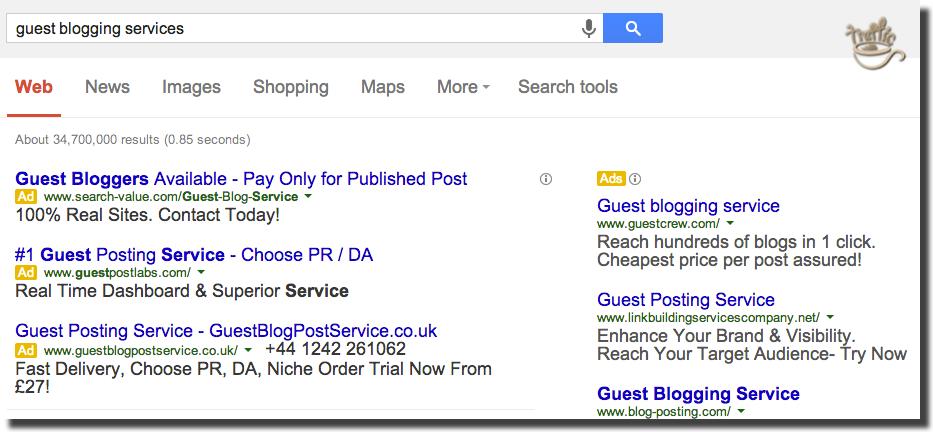 google still accepts guest blogging services ads