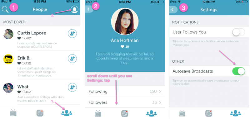 How to autosave periscope broadcasts