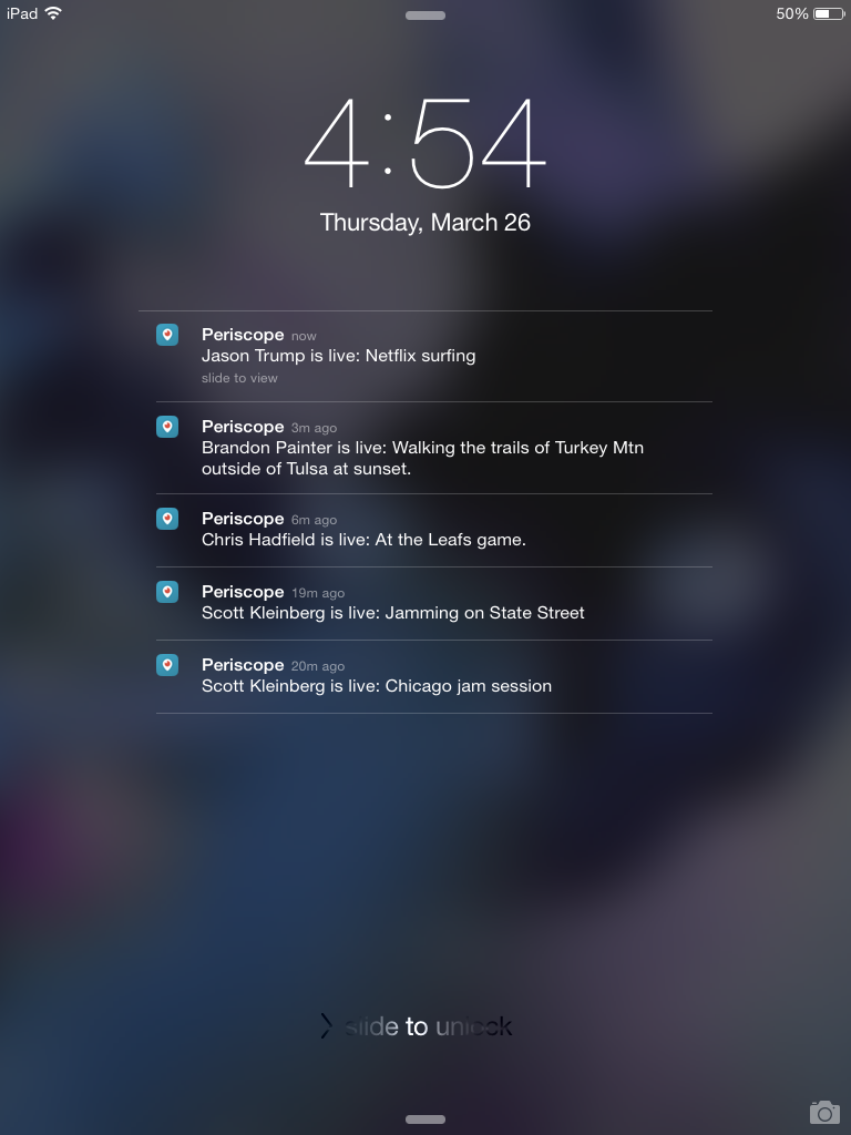 What periscope notifications look like