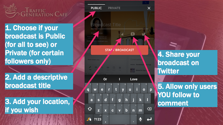Periscope on Android Tutorial: broadcast page features