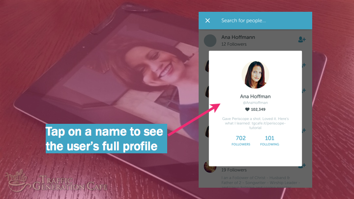 Periscope on Android Tutorial: see full user's profile