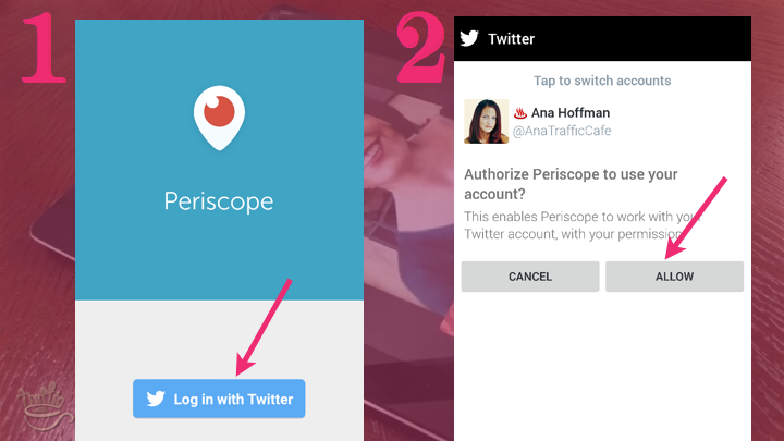 Periscope on Android Tutorial: log into Periscope with Twitter