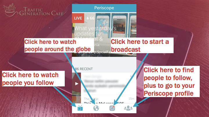 Periscope iOS Tutorial: the anatomy of Periscope home page