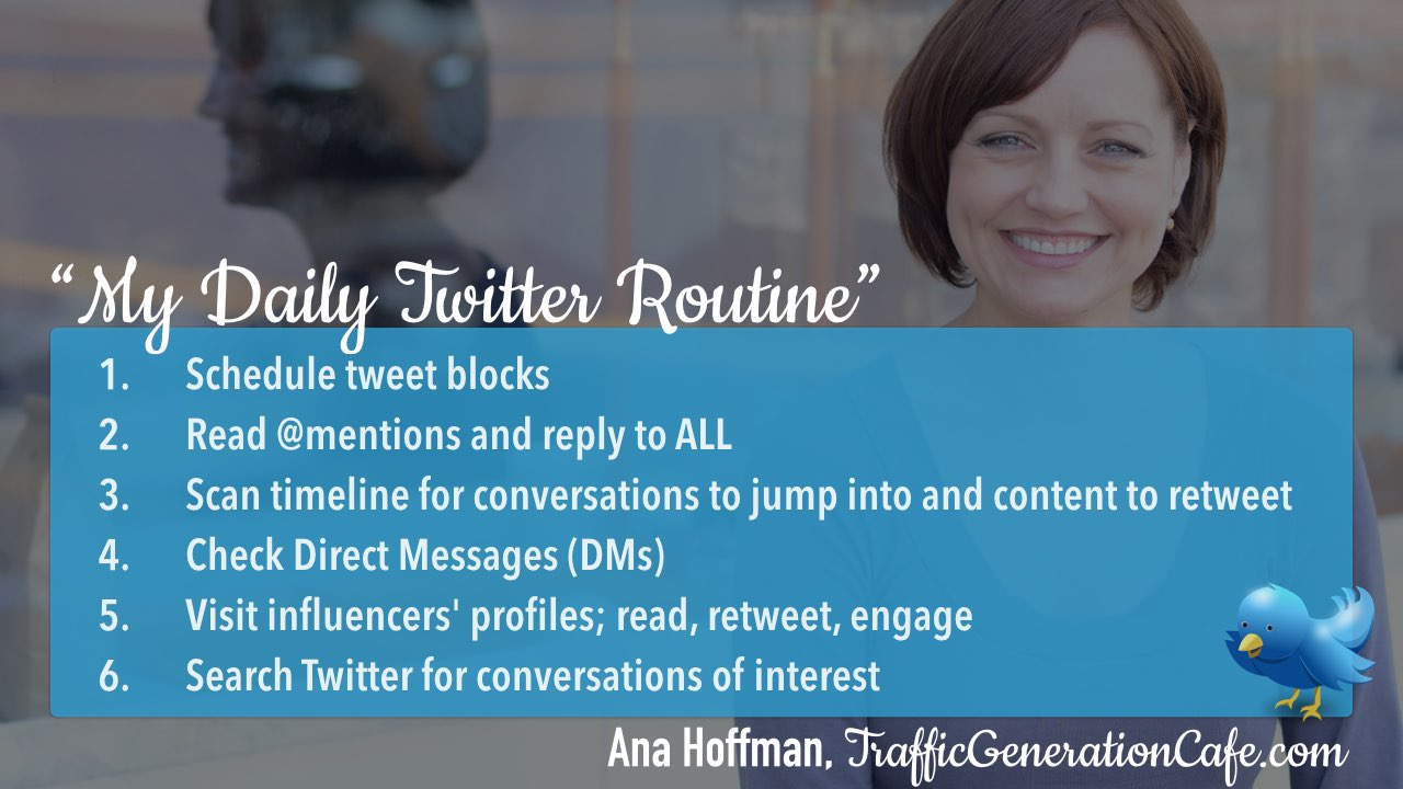 Twitter daily management routine Ana Hoffman