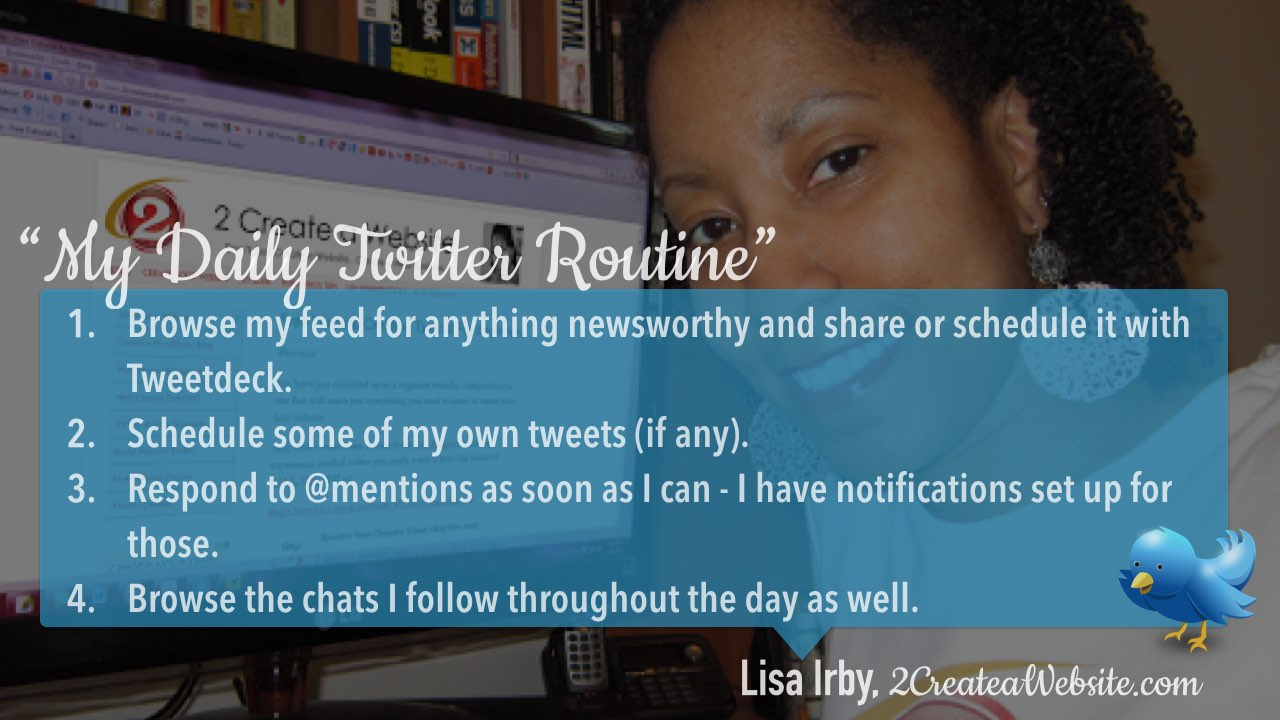 Twitter daily management routine Lisa Irby