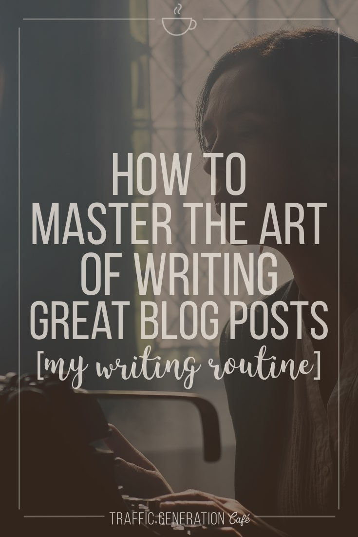 """http://www.trafficgenerationcafe.com/write-great-blog-post/ """"Almost all good writing begins with terrible first efforts. You need to start somewhere."""" ― Anne Lamott  Great blogs don't happen without great content.  Great content doesn't happen without growing pains.  Here's how I went from being a lousy writer to consistently writing blog posts that bring in thousands of visitors to Traffic Generation Café every day - with a step-by-step routine to help YOU write killer blog posts too."""
