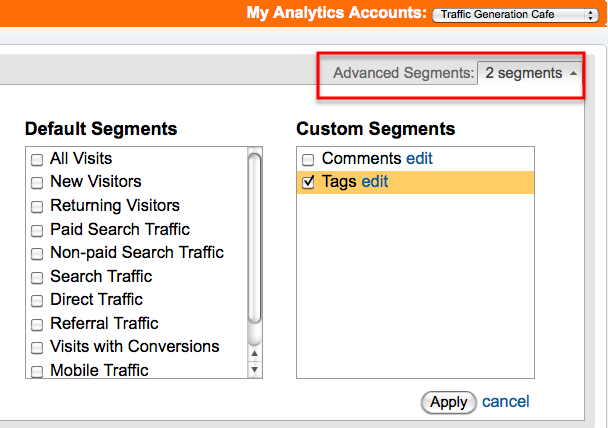 tags tracking in analytics