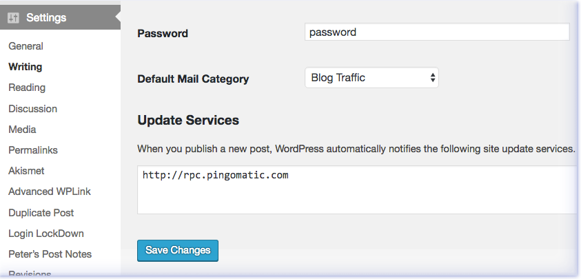 How to update pinging services in WordPress